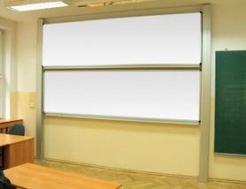 Tablica akademicka zależna biała suchościeralna, magnetyczna 100x360 cm