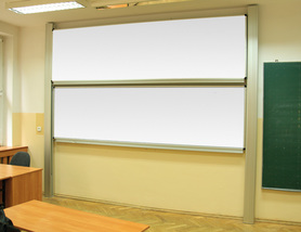 Tablica akademicka zależna biała suchościeralna, magnetyczna, ceramiczna P3 120x200 cm