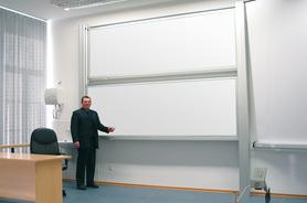 Tablica akademicka niezależna biała suchościeralna, magnetyczna 100x400 cm