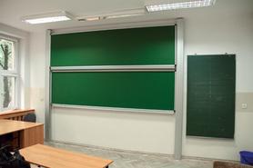 Tablica akademicka zależna zielona do kredy, magnetyczna, ceramiczna P3 100x400 cm